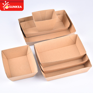 F flute kraft paper food tray corrugated paper tray for hot dog burger fries